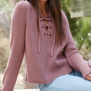 La Hearts Sweaters - PacSun LA Hearts Lace Up Bell Sleeve Sweater f88c2c344